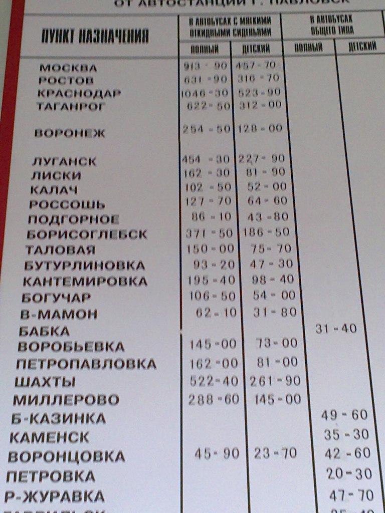 расписание автобусов в россоши